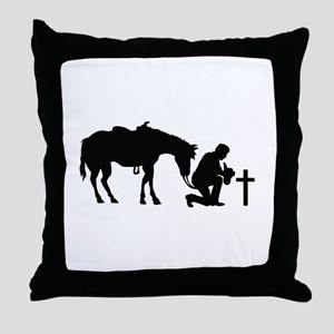 COWBOY HORSE AND CROSS Throw Pillow
