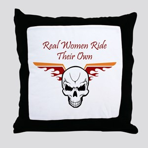 REAL WOMEN RIDE THEIR OWN Throw Pillow
