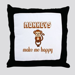Monkeys Make Me Happy Throw Pillow