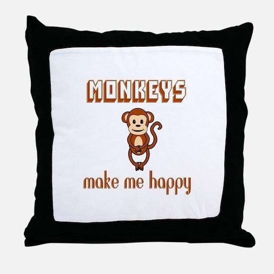 Monkeys Make Me Happy Throw Pillow
