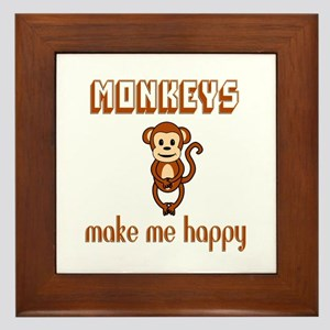 Monkeys Make Me Happy Framed Tile