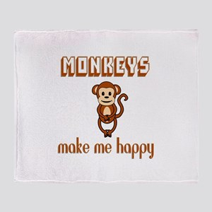 Monkeys Make Me Happy Throw Blanket