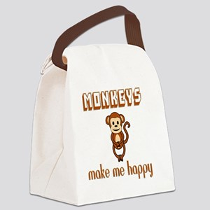Monkeys Make Me Happy Canvas Lunch Bag