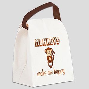 Monkeys Make Me Happy Canvas Lunch Bag