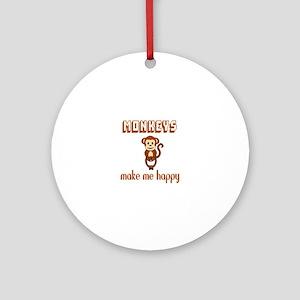 Monkeys Make Me Happy Round Ornament