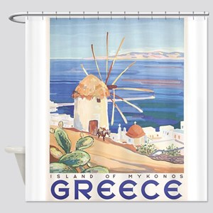 Mykonos, Greece, Vintage Trave Poster Shower Curta