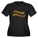 Live & Let Live Women's Plus Size V-Neck Dark T-Sh