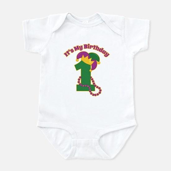 Mardi Gras 1st Birthday Infant Bodysuit