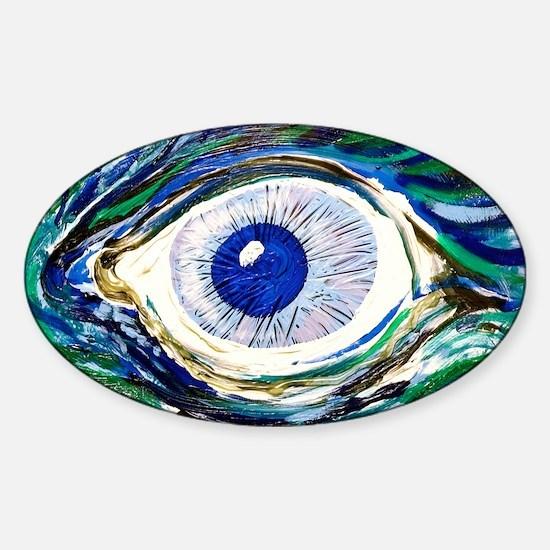 Aqua Eye by Doug LaRue Sticker (Oval)