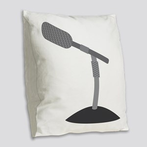 Microphone Desk Stand Burlap Throw Pillow