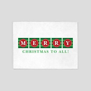 Merry Christmas To All! 5'x7'Area Rug