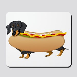 Black Weiner Dog with all the Fixings Mousepad