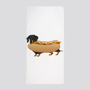 Black Weiner Dog with all the Fixings Beach Towel