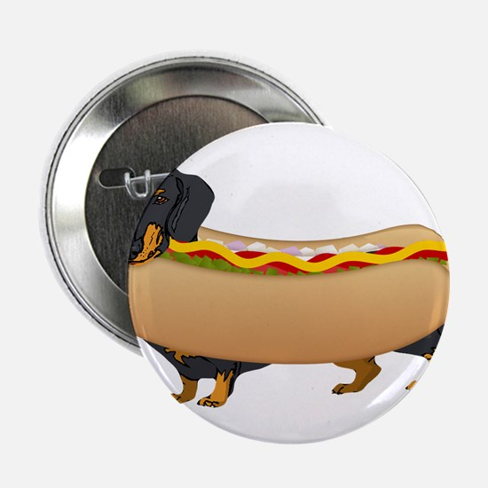"""Black Weiner Dog with all the Fixings 2.25"""" Button"""