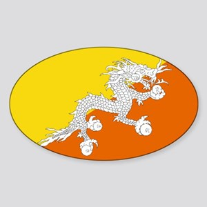 Bhutanese flag Sticker (Oval)