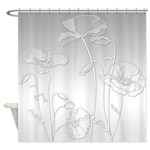 Shaded Silver And White Poppies Shower Curtain