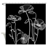 Black And White Poppies Shower Curtain