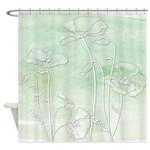 Watercolor Green And Poppies Shower Curtain