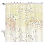Watercolor Yellow And Poppies Shower Curtain