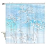 Abstract Blue Watercolor Poppies Shower Curtain