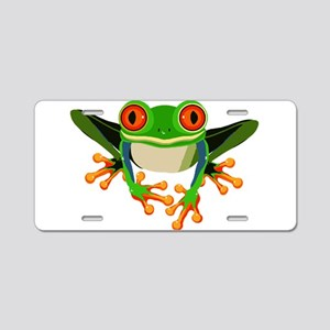 Colorful Tree Frog with Ora Aluminum License Plate