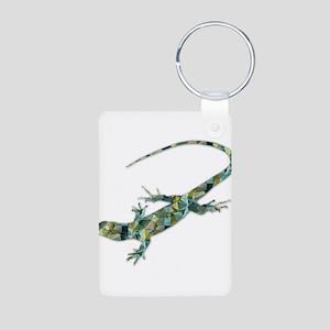 Mosaic Polygon Green Lizard Keychains