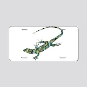 Mosaic Polygon Green Lizard Aluminum License Plate