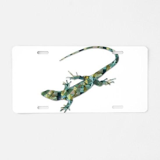 Mosaic Polygon Green Lizard Aluminum License Plate