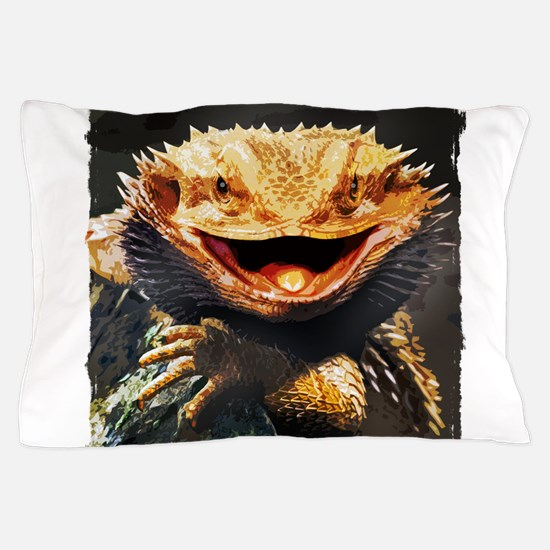 Grotesque Bearded Dragon Lizard Pillow Case