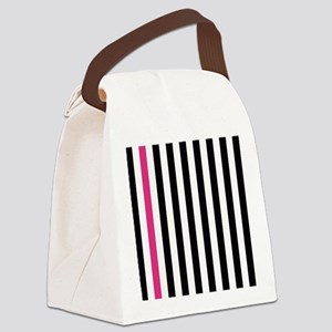 With A Pink Stripe Canvas Lunch Bag