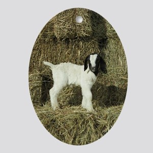 Kid Playing In The Hay Ornament (Oval)