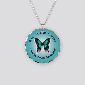Ovarian Cancer Awareness Necklace Circle Charm