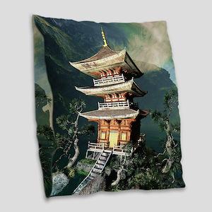 Asian Temple Burlap Throw Pillow