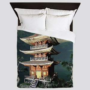 Asian Temple Queen Duvet