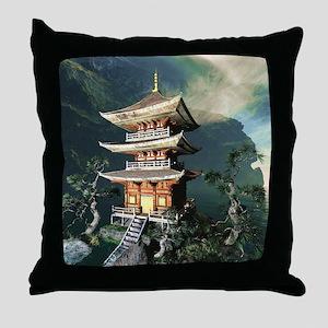 Asian Temple Throw Pillow