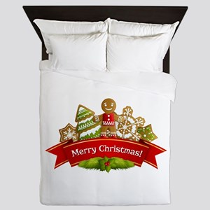 Merry Christmas Gingerbread Cookies Queen Duvet