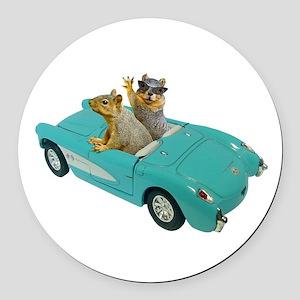 Squirrels Car Round Car Magnet