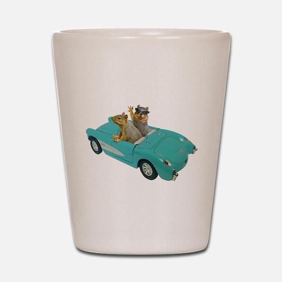 Squirrels Car Shot Glass