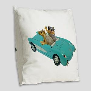 Squirrels Car Burlap Throw Pillow