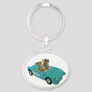 Squirrels Car Oval Keychain