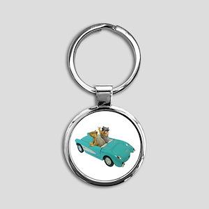 Squirrels Car Round Keychain