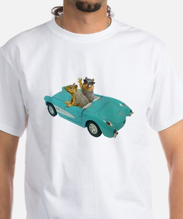 Squirrels Car White T-Shirt