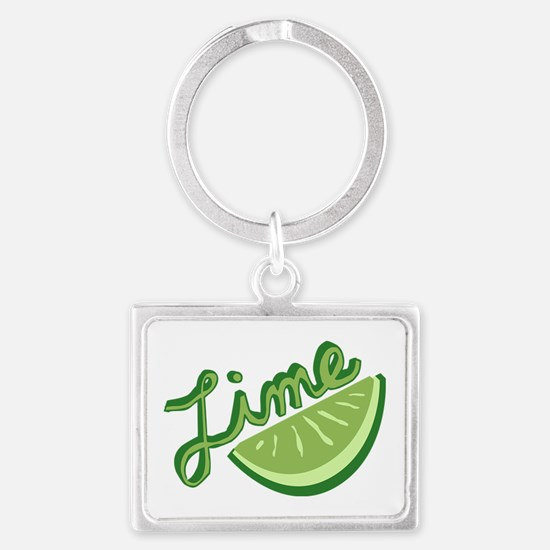 Cute Lime Slice Landscape Keychain