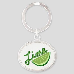 Cute Lime Slice Oval Keychain