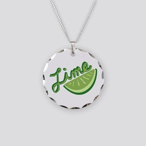 Cute Lime Slice Necklace Circle Charm