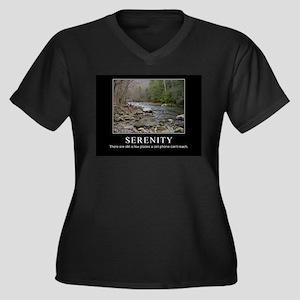 Serenity Women's Plus Size V-Neck Dark T-Shirt