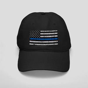 The thin blue line stressed flag Baseball Hat