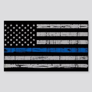 The thin blue line stressed flag Sticker