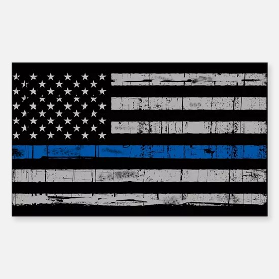 The thin blue line stressed flag Decal