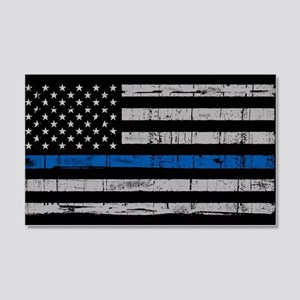 The thin blue line stressed flag Wall Decal